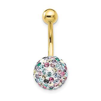 10 k Gelbgold mit Multi-Farbe Kristall Kugel Bauch ring baumeln Schmuck Geschenke für Frauen