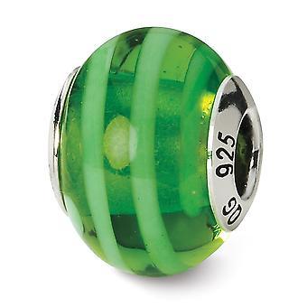 925 Sterling Silver Polished finish Italian Murano Glass Reflections Green Italian Murano Bead Charm Pendant Necklace Je