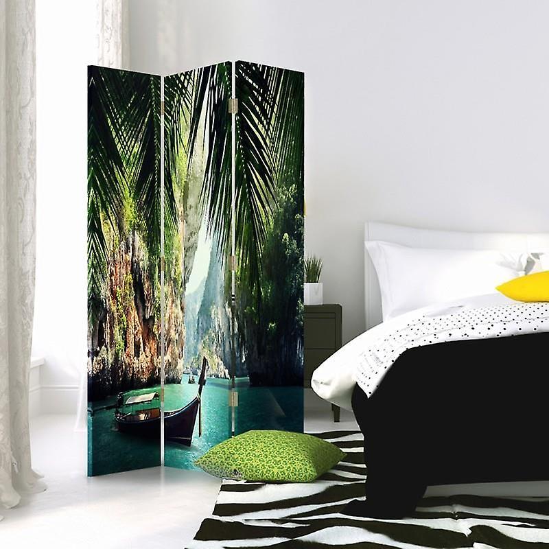 Diviseur de chambre, 3 panneaux, à un seul côté, toile, bateau dans les tropiques