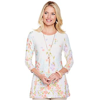 Amber Ladies Flower and Butterfly Border Print Top