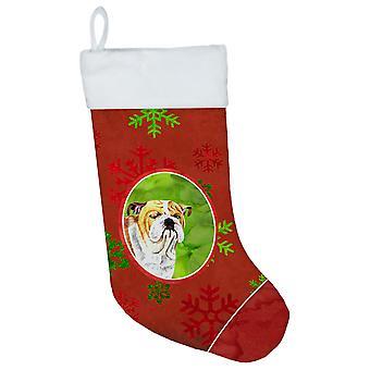 Bulldog English Red and Green Snowflakes Holiday  Christmas Stocking