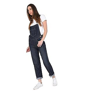 Ladies regular fit dungarees - darkwash