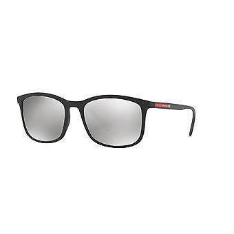 Prada Sport Linea Rossa SPS01T DG02B0 Black Rubber/Light Grey Mirror Silver Sunglasses