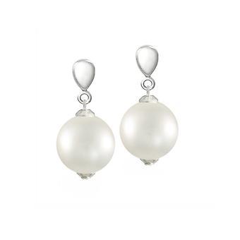 Eternal Collection La Perla White Shell Pearl Silver Tone Drop Clip On Earrings