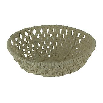 Off-White Handwoven Macrame Decorative Bowl Large