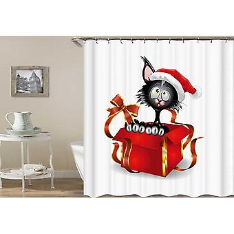 Santa's Cat In A Gift Box Shower Curtain