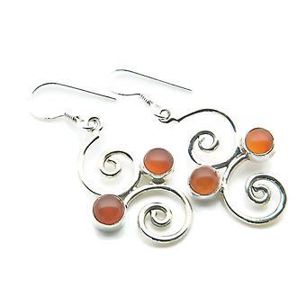 Karneol Ohrringe 925 Silber Sterlingsilber Ohrhänger orange rot (MOH 95-16)