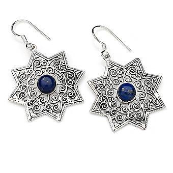 Lapis Lazuli Orecchini 925 Argento Sterling Argento Orecchini Blu (MOH 128-06)