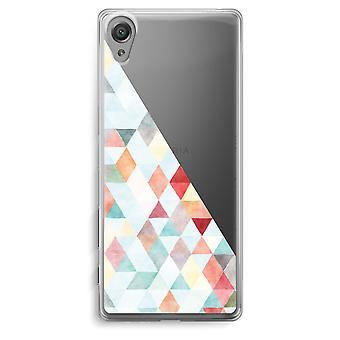 Sony Xperia XA Transparent Case - Coloured triangles pastel