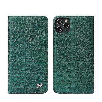 Voor iPhone 11 Case Crocodile Echte Koe Portemonnee Lederen Cover Groen