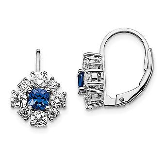 10.45mm Cheryl M 925 Sterling Silver CZ Cubic Zirconia Simulated Diamond Lab Created Blue Spinel Leverback Earrings Jewe