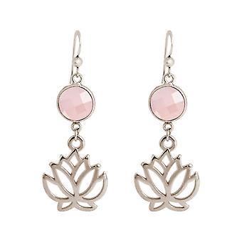 Gemshine oorbellen lotus bloemen rozen kwarts oorbellen verguld of roos
