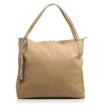 FIRENZE ARTEGIANI Real Leather Women's Bag. Women's leather bag genuine Dollar. Soft touch. Shopper bag. Women's shoulder bag Made in ITALY. REAL ITALIAN PELLE 36x33x15 cm. Color: TAUPE