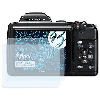 Bruni 2x Schutzfolie kompatibel mit Nikon Coolpix L310 Folie