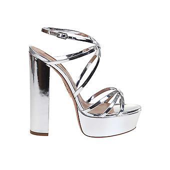 Aquazzura Gnihigb0speccc Women's Silver Leather Sandals