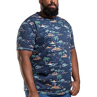 Duke D555 Hombres Chester Grande Alto Tamaño King Impreso Camiseta de Cuello Redondo - Marl Marino