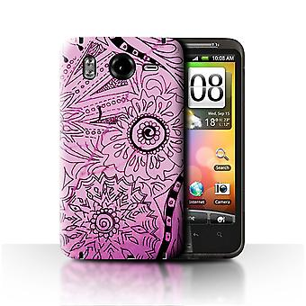 STUFF4 Fall/Cover für HTC Desire HD/G10/Pink/Schwarz/Henna Paisley Blume