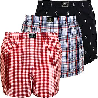 Polo Ralph Lauren 3-Pack Woven Plaid/Logo/Plaid Boxer Shorts, Navy/Red/Blue