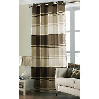Country Club Stripe Ring Top Curtain Panel, Chocolate