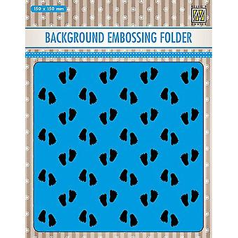 Nellie's Choice Embossing Folder Background Baby feet 2 EEB018 150x150mm