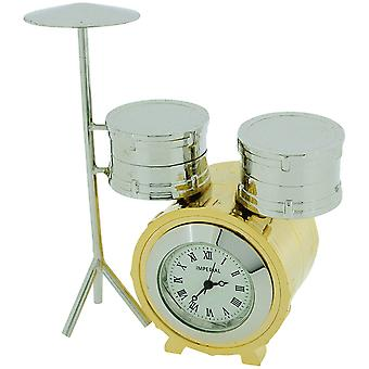 Miniature Drum Kit Novelty Argent - Goldtone Finish Collectors Horloge IMP1065
