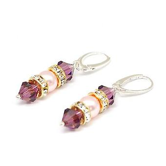 Spark Sterling Silver Purple Beads Pearl Drop Earrings with Swarovski Elements