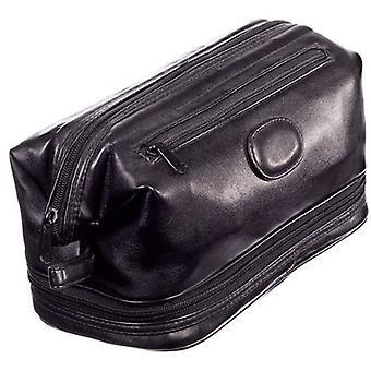 Danielle Milano Large Frame Top Zip Toiletries Bag - Black PVC