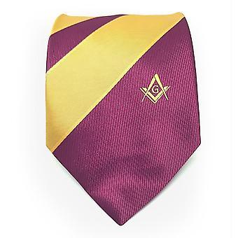 Frimurere lilla og gult slips med firkantet kompass & g