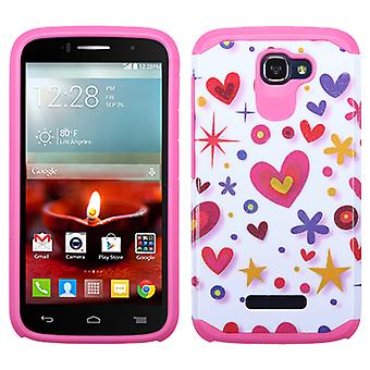 ASMYNA Advanced Armor Case for OneTouch Fierce II - White/Hot Pink Heart Graffiti