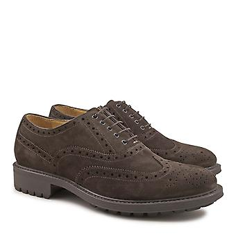Handmade men's suede wingtip shoes in chocolate color