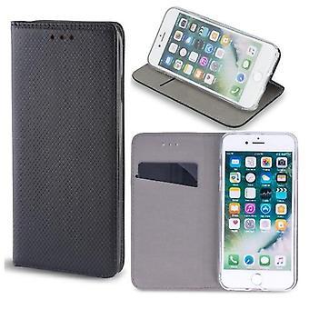 Motorola Moto E6 pluss-smart magnet mobil lommebok-svart