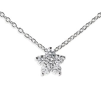 Amor Women's necklace with silver flower pendant Sterling 925 polished rhodia with white zircons 42 plus 3 cm 373890