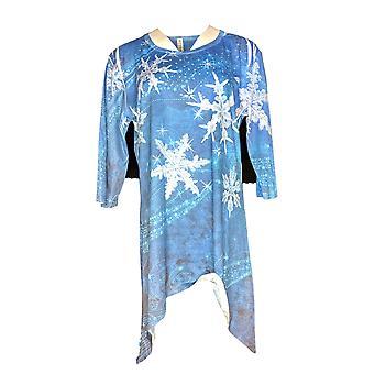 Artisans Women's Top Curved Hemline Tunic Poly Spandex Blue