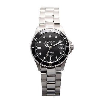 Watch Beuchat BEU1955-1 - Dateur Unidirectional Lunette 20 ATM Steel Silver Black Dial Women
