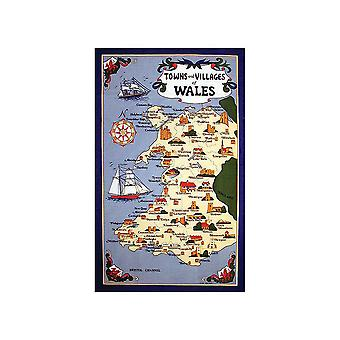 Stow Green Wales Towns & Villages Tea Towel