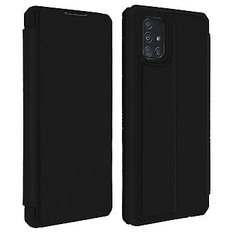 Genuine Leather Stand Folio Case with Card Slots for Galaxy A51-Dux Ducis, Black