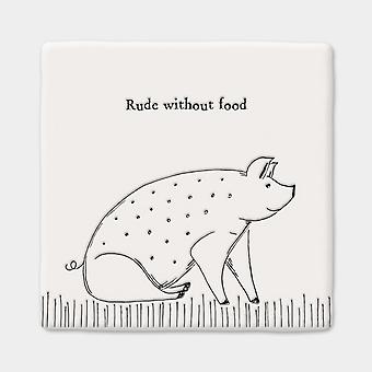 East of India Rude Without Food Pig Porcelain Coaster Gift Giving