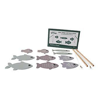 Tradycyjne gry ogrodowe drewniane duże ryby małe ryby zabawa wędkarstwo gra