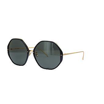 Linda Farrow ALONA LFL901 SUN C1 Black Yellow Gold/Grey Sunglasses