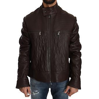 Trussardi Brown Leather Biker Zipper Motorcycle Mens Jacket -- JKT2447984