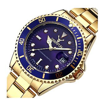 Genuine Deerfun Homage Watch Blue Gold Date Watches Top Quality Sale