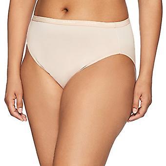 Brand - Arabella Women's Microfiber Hi Cut Brief Panty, 3 Pack, Sunbei...