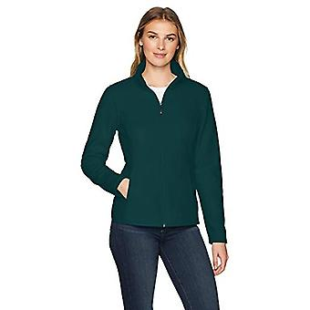Essentials Women's Full-Zip Polar Fleece Jacket, Deep Pine, Large
