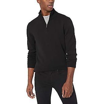 Goodthreads Men's Soft Cotton Quarter Zip Sweater, Solid Black, X-Large