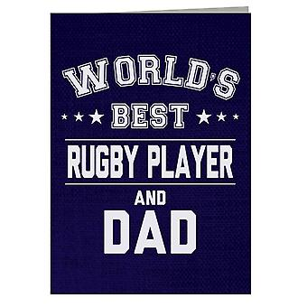 Worlds Best Rugby Player And Dad Greeting Card