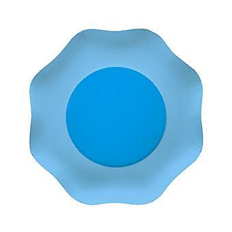Double Blue 18cm Shaped Paper Party Plates
