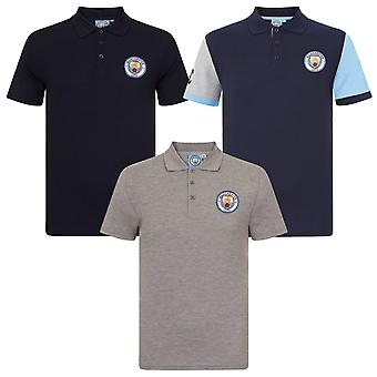 Manchester City FC Official Football Gift Mens Crest Polo Shirt
