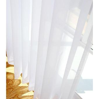Solid White Sheer Treatments Curtains For Kitchen , Living Room Window