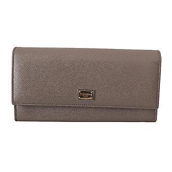 Beige dauphine leather bifold continental clutch wallet