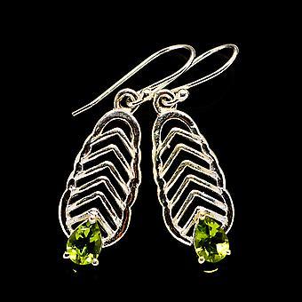"""Peridot Earrings 1 1/2"""" (925 Sterling Silver)  - Handmade Boho Vintage Jewelry EARR404147"""